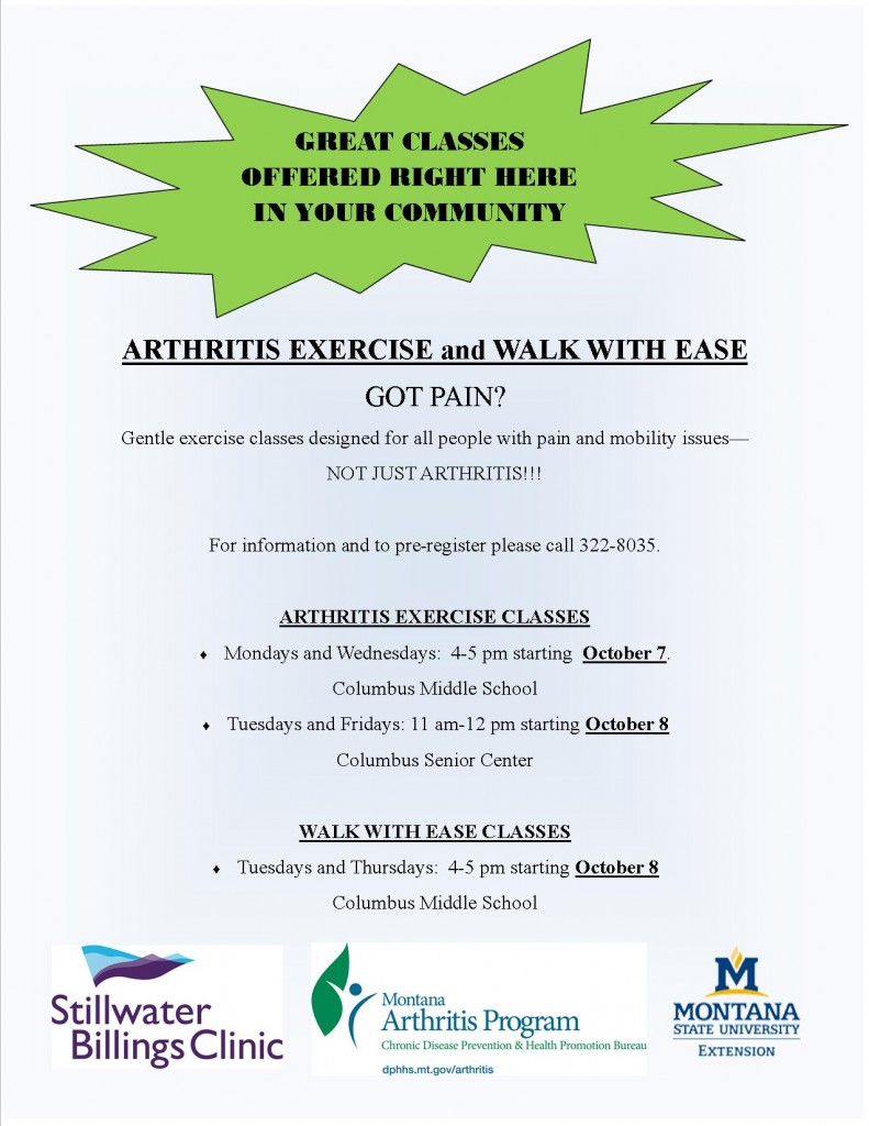 Arthritis Exercise Flier 2013